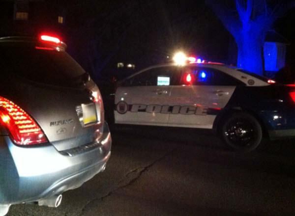 Police car night auto accident