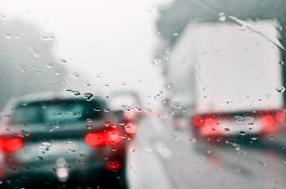 truck highway rain